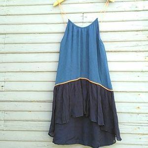 IKKS blue sleeveless high low ruffle hem dress